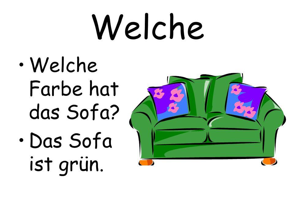 Welche Welche Farbe hat das Sofa? Das Sofa ist grün.