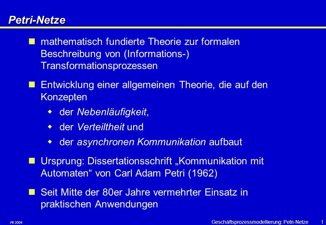 """Pli 2004 Geschäftsprozessmodellierung: Petri-Netze21 Typisches Anwendungsmuster: Sequentielles Routing A B """"Erst A dann B"""