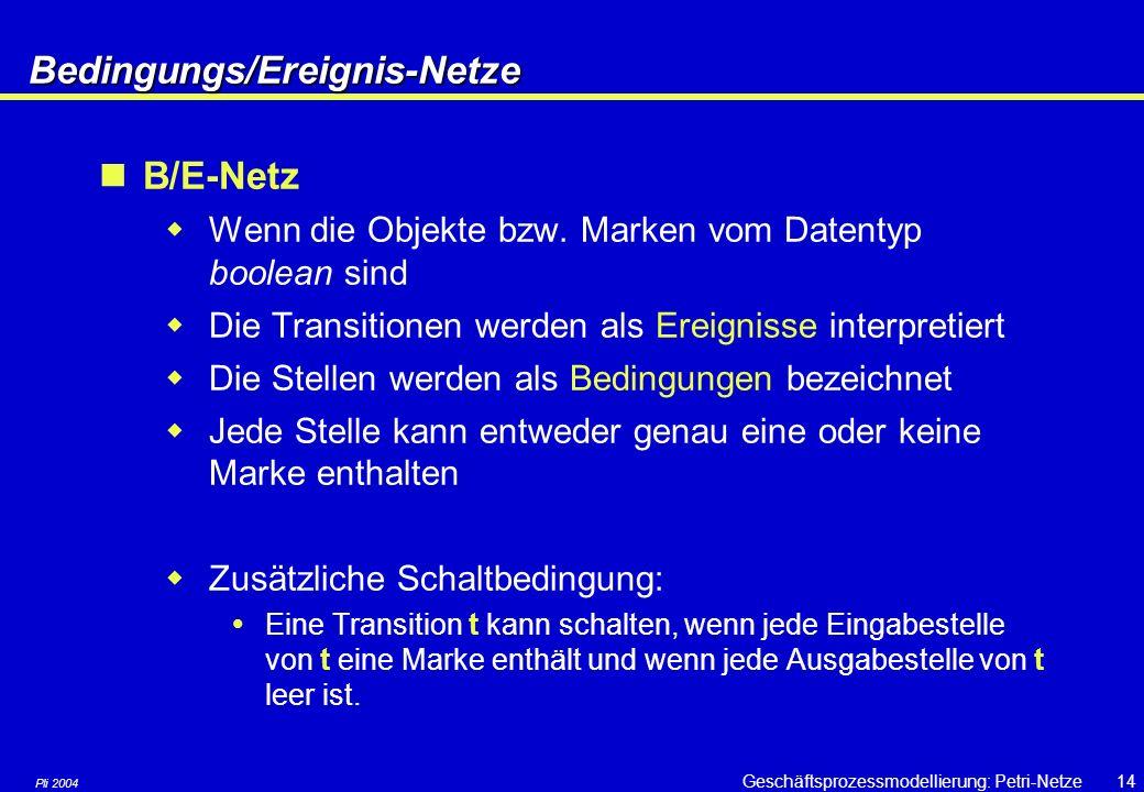 Pli 2004 Geschäftsprozessmodellierung: Petri-Netze13 Verschiedene Arten von Petri-Netzen In Abhängigkeit von der Art der Objekte unterscheidet man: 