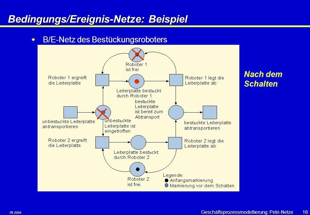 Pli 2004 Geschäftsprozessmodellierung: Petri-Netze15Bedingungs/Ereignis-Netze Beispiel  Zwei Roboter bestücken Leiterplatten mit elektronischen Bauelementen, die auf einem Fließband A antransportiert werden