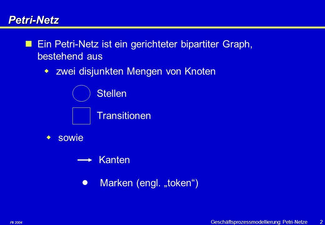 Pli 2004 Geschäftsprozessmodellierung: Petri-Netze2Petri-Netz Ein Petri-Netz ist ein gerichteter bipartiter Graph, bestehend aus  zwei disjunkten Mengen von Knoten Stellen Transitionen  sowie Kanten Marken (engl.