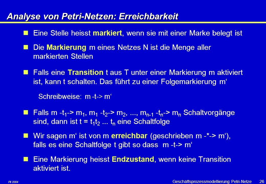 Pli 2004 Geschäftsprozessmodellierung: Petri-Netze25 Strukturelemente & Strukturen