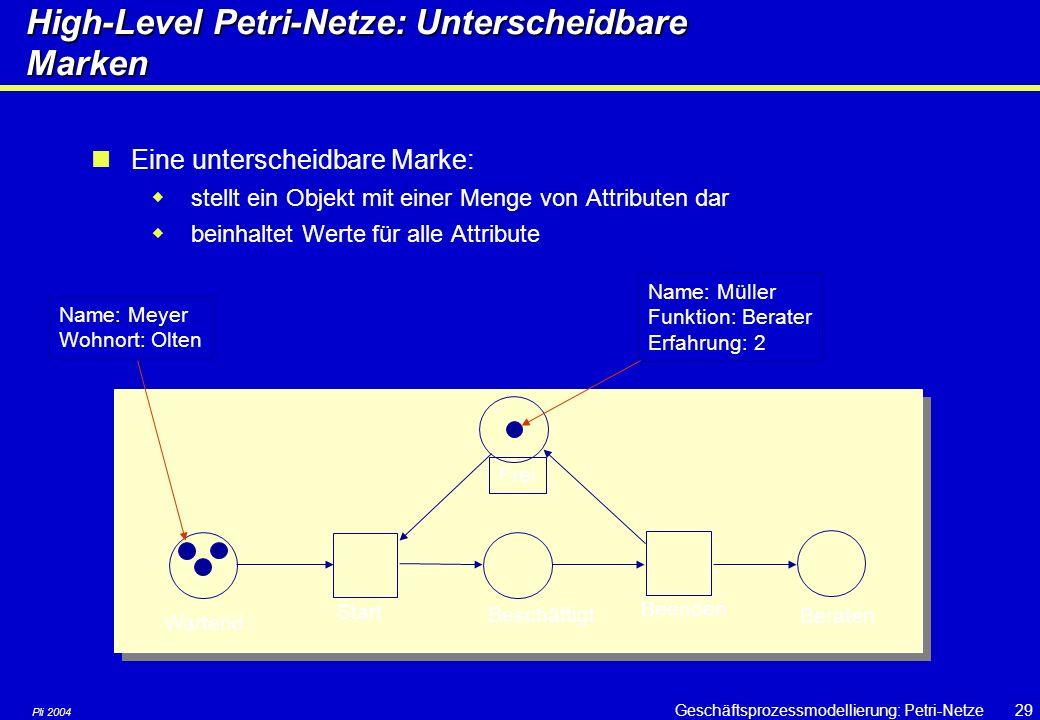 Pli 2004 Geschäftsprozessmodellierung: Petri-Netze28 High-level Petrinetze High-level Petrinetze sind erweiterte Petrinetze: Unterscheidbare Marken (c