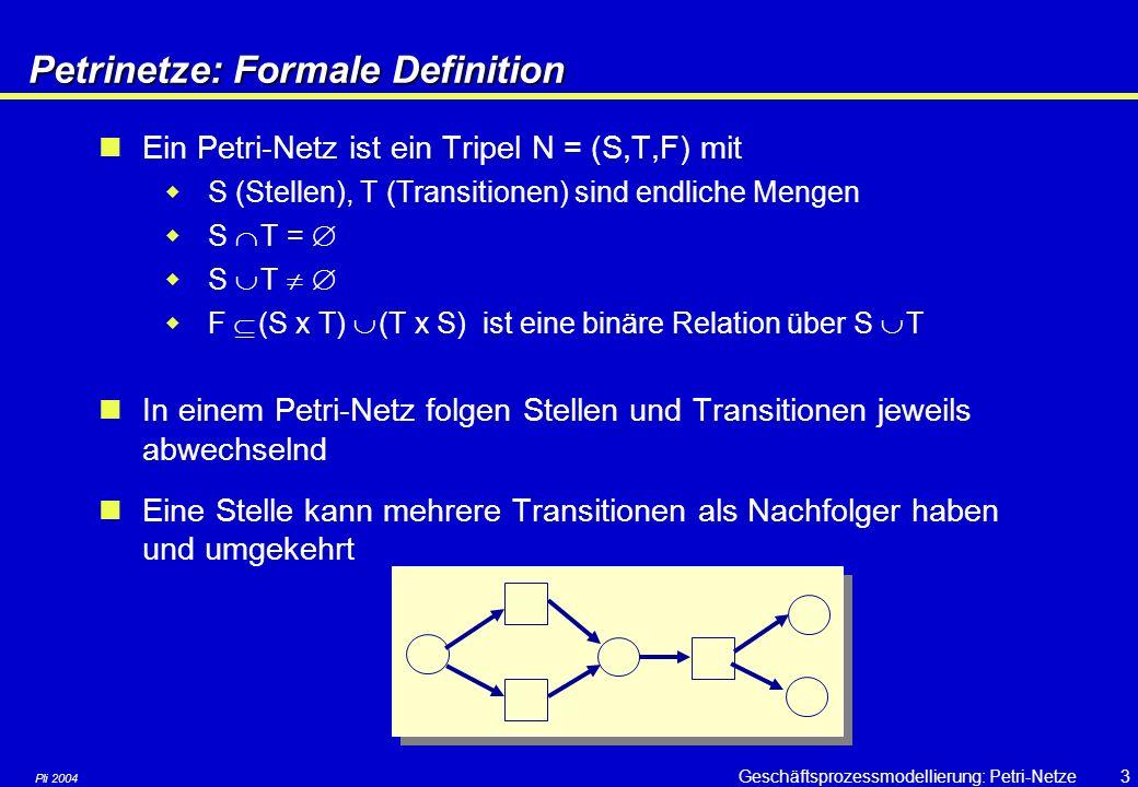 Pli 2004 Geschäftsprozessmodellierung: Petri-Netze33 Zeitbehaftete Petri-Netze Verschiedene Notationsmöglichkeiten  Eine Marke wird erst nach einer Verzögerung von 4 Zeiteinheiten wirksam  Die Transition kann erst 4 Zeiteinheiten nach dem Eintreffen der Marke in der Eingangsstelle feuern
