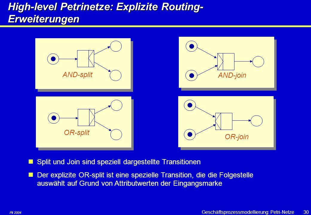 Pli 2004 Geschäftsprozessmodellierung: Petri-Netze29 High-Level Petri-Netze: Unterscheidbare Marken Frei Beschäftigt Wartend Start Beenden Beraten Nam