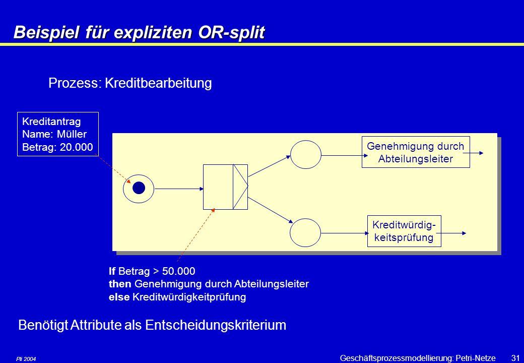Pli 2004 Geschäftsprozessmodellierung: Petri-Netze30 High-level Petrinetze: Explizite Routing- Erweiterungen AND-split AND-join OR-split OR-join Split