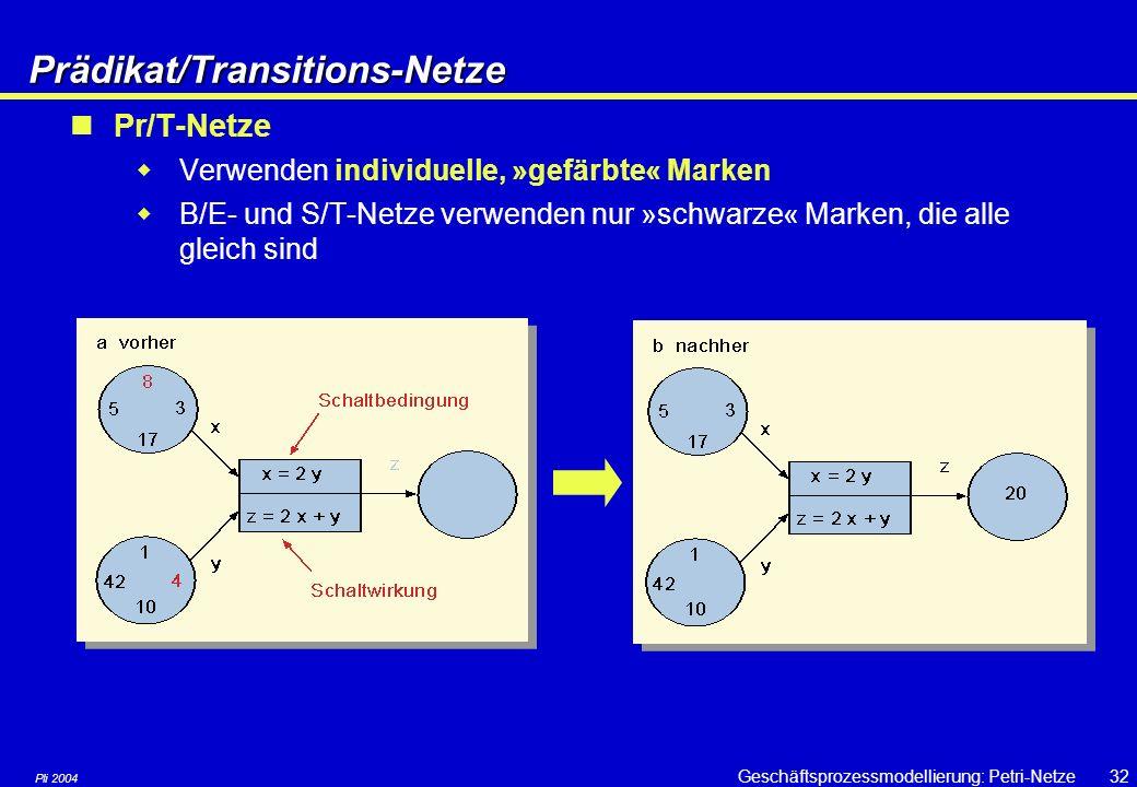 Pli 2004 Geschäftsprozessmodellierung: Petri-Netze31 Beispiel für expliziten OR-split Prozess: Kreditbearbeitung If Betrag > 50.000 then Genehmigung d