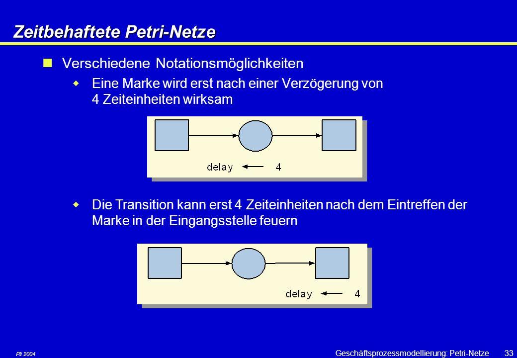 Pli 2004 Geschäftsprozessmodellierung: Petri-Netze32Prädikat/Transitions-Netze Pr/T-Netze  Verwenden individuelle, »gefärbte« Marken  B/E- und S/T-Netze verwenden nur »schwarze« Marken, die alle gleich sind