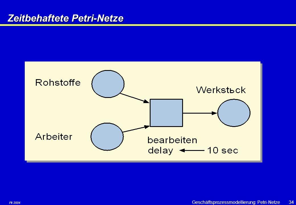 Pli 2004 Geschäftsprozessmodellierung: Petri-Netze33 Zeitbehaftete Petri-Netze Verschiedene Notationsmöglichkeiten  Eine Marke wird erst nach einer V