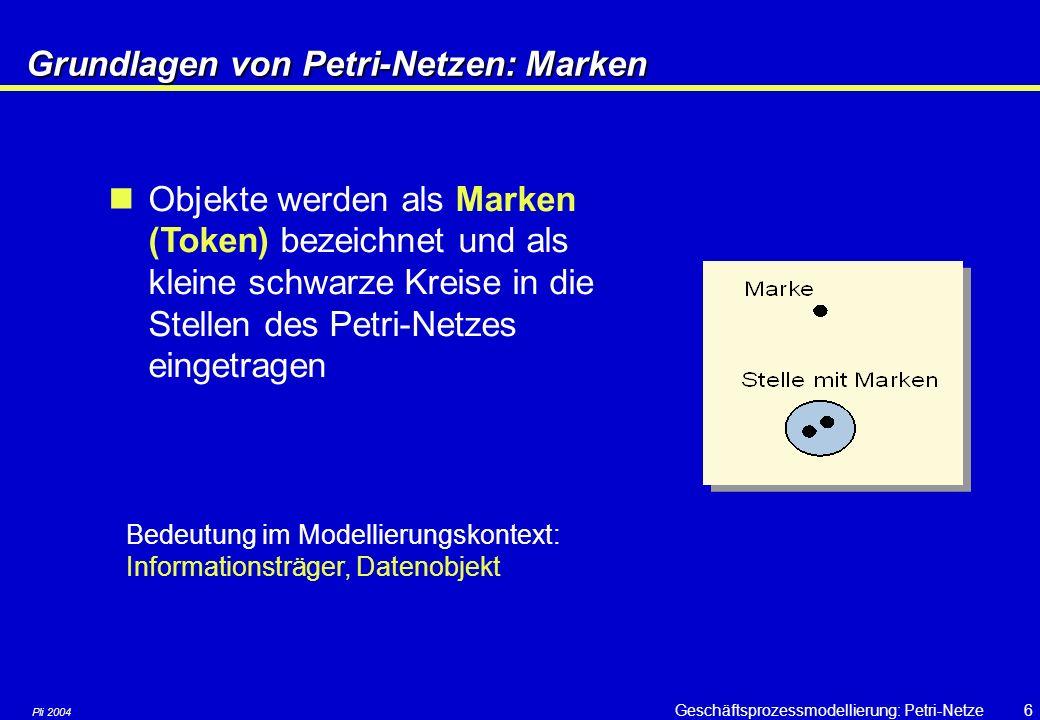 Pli 2004 Geschäftsprozessmodellierung: Petri-Netze26 Analyse von Petri-Netzen: Erreichbarkeit Eine Stelle heisst markiert, wenn sie mit einer Marke belegt ist Die Markierung m eines Netzes N ist die Menge aller markierten Stellen Falls eine Transition t aus T unter einer Markierung m aktiviert ist, kann t schalten.