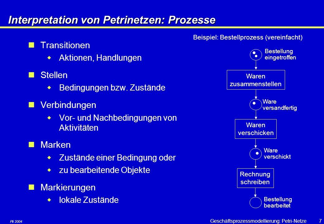 Pli 2004 Geschäftsprozessmodellierung: Petri-Netze6 Objekte werden als Marken (Token) bezeichnet und als kleine schwarze Kreise in die Stellen des Pet
