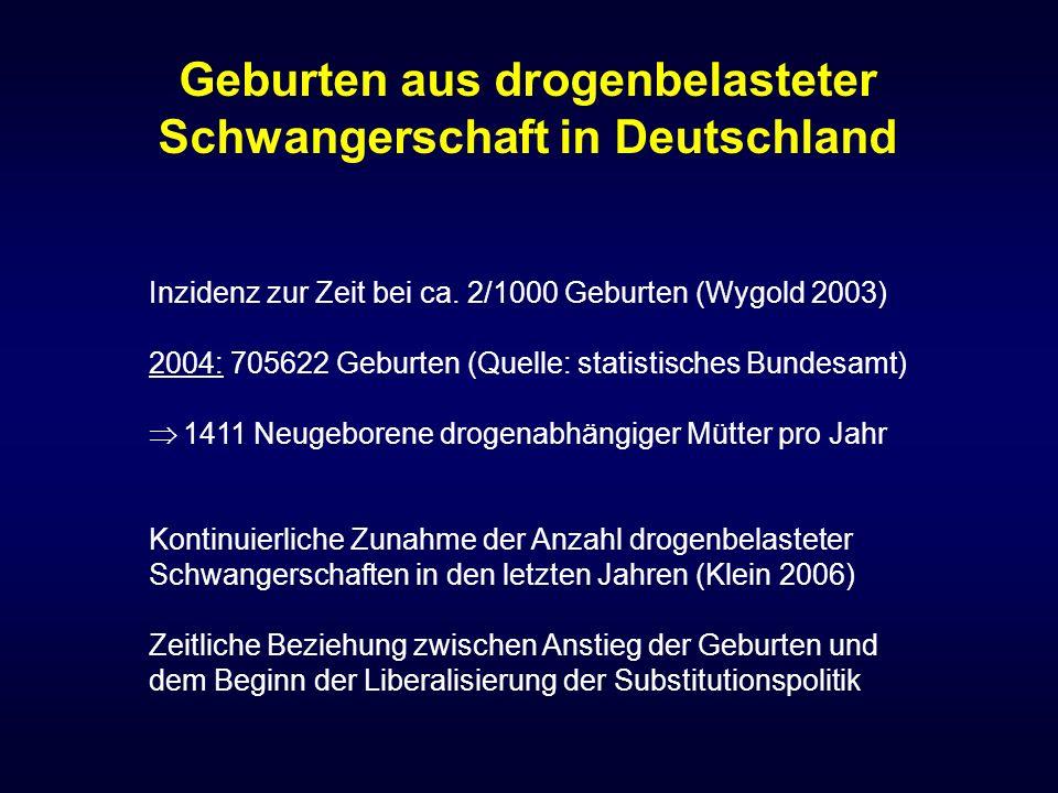 Inzidenz zur Zeit bei ca. 2/1000 Geburten (Wygold 2003) 2004: 705622 Geburten (Quelle: statistisches Bundesamt)  1411 Neugeborene drogenabhängiger Mü