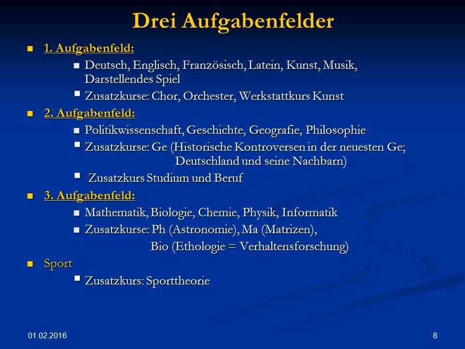 01.02.2016 8 Drei Aufgabenfelder 1. Aufgabenfeld: 1. Aufgabenfeld: Deutsch, Englisch, Französisch, Latein, Kunst, Musik, Darstellendes Spiel Deutsch,