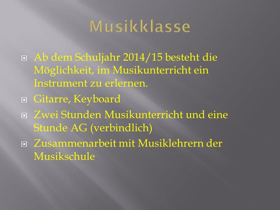 Ab dem Schuljahr 2014/15 besteht die Möglichkeit, im Musikunterricht ein Instrument zu erlernen.
