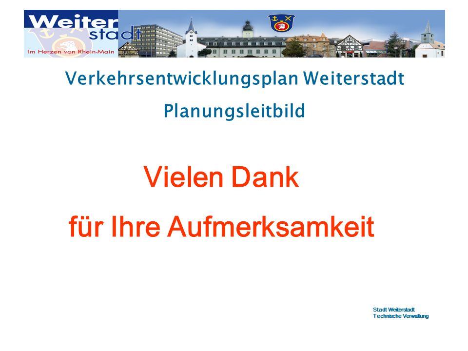 Verkehrsentwicklungsplan Weiterstadt Planungsleitbild Vielen Dank für Ihre Aufmerksamkeit Stadt Weiterstadt Technische Verwaltung