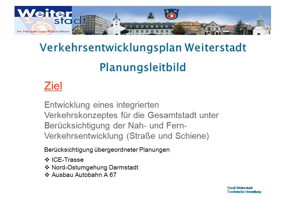 Verkehrsentwicklungsplan Weiterstadt Planungsleitbild Ziel Entwicklung eines integrierten Verkehrskonzeptes für die Gesamtstadt unter Berücksichtigung der Nah- und Fern- Verkehrsentwicklung (Straße und Schiene) Berücksichtigung übergeordneter Planungen  ICE-Trasse  Nord-Ostumgehung Darmstadt  Ausbau Autobahn A 67 Stadt Weiterstadt Technische Verwaltung