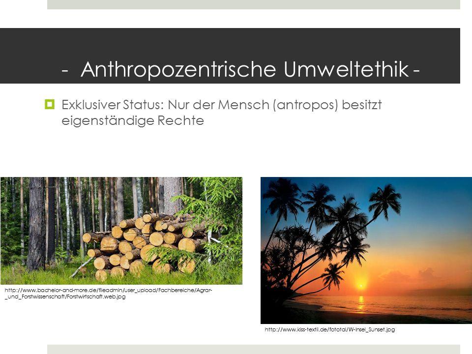 - Anthropozentrische Umweltethik -  Exklusiver Status: Nur der Mensch (antropos) besitzt eigenständige Rechte http://www.bachelor-and-more.de/fileadm