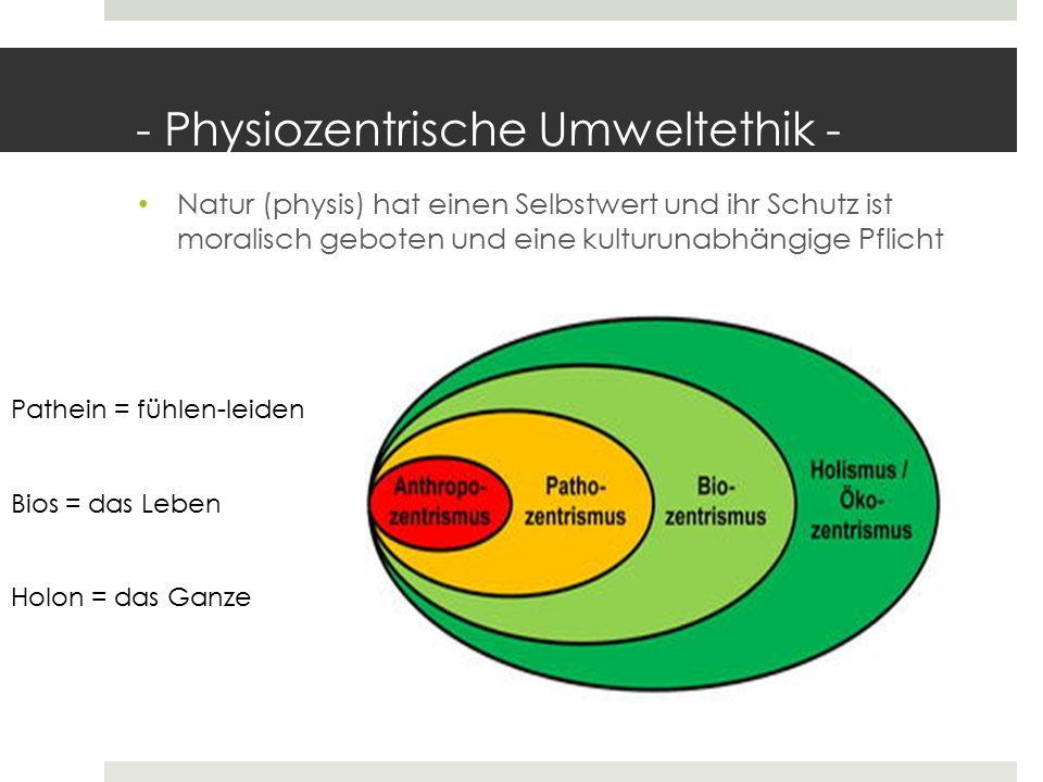 - Physiozentrische Umweltethik - Natur (physis) hat einen Selbstwert und ihr Schutz ist moralisch geboten und eine kulturunabhängige Pflicht Pathein =