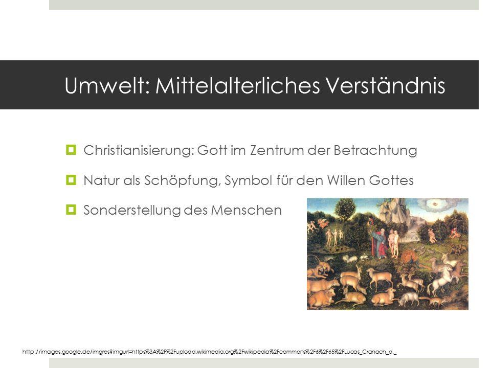 Umwelt: Mittelalterliches Verständnis  Christianisierung: Gott im Zentrum der Betrachtung  Natur als Schöpfung, Symbol für den Willen Gottes  Sonde