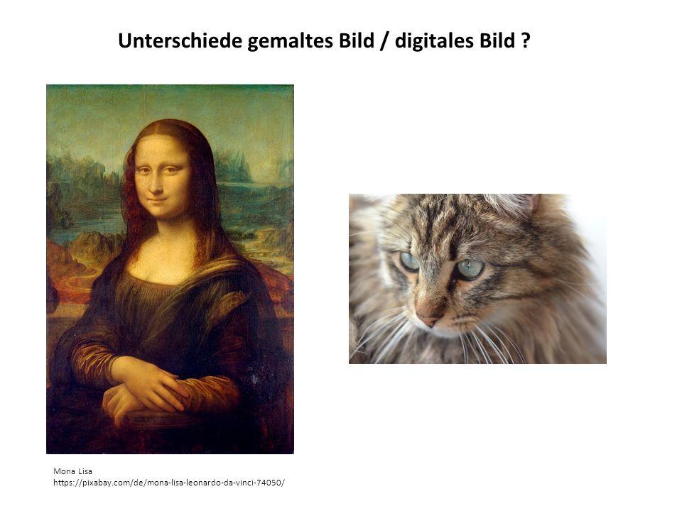 Unterschiede gemaltes Bild / digitales Bild ? Mona Lisa https://pixabay.com/de/mona-lisa-leonardo-da-vinci-74050/