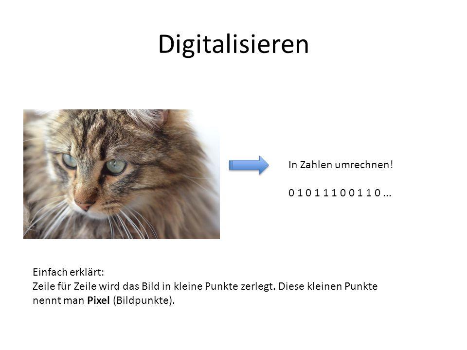 Digitalisieren In Zahlen umrechnen! 0 1 0 1 1 1 0 0 1 1 0... Einfach erklärt: Zeile für Zeile wird das Bild in kleine Punkte zerlegt. Diese kleinen Pu