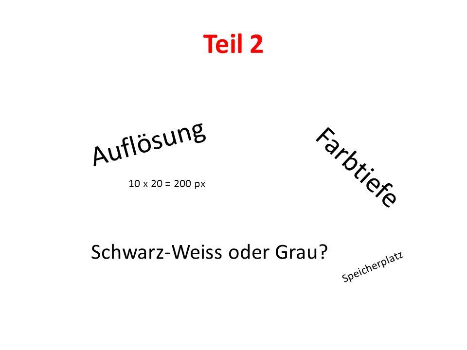 Teil 2 Auflösung Farbtiefe Schwarz-Weiss oder Grau? 10 x 20 = 200 px Speicherplatz