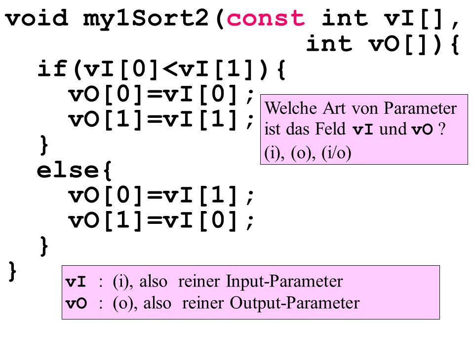 void my1Sort2(const int vI[], int vO[]){ if(vI[0]<vI[1]){ vO[0]=vI[0]; vO[1]=vI[1]; } else{ vO[0]=vI[1]; vO[1]=vI[0]; } } Welche Art von Parameter ist das Feld vI und vO .