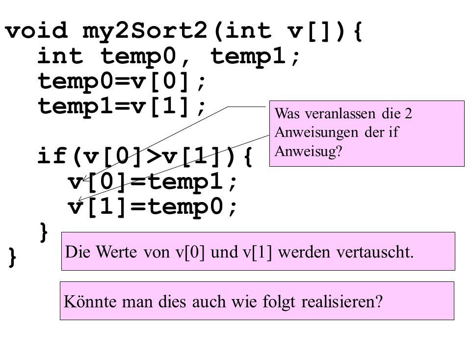 void my2Sort2(int v[]){ int temp0, temp1; temp0=v[0]; temp1=v[1]; if(v[0]>v[1]){ v[0]=temp1; v[1]=temp0; } } Die Werte von v[0] und v[1] werden vertauscht.