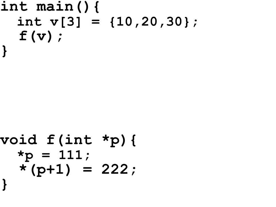 int main(){ int v[3] = {10,20,30}; f(v); } void f(int *p){ *p = 111; *(p+1) = 222; }