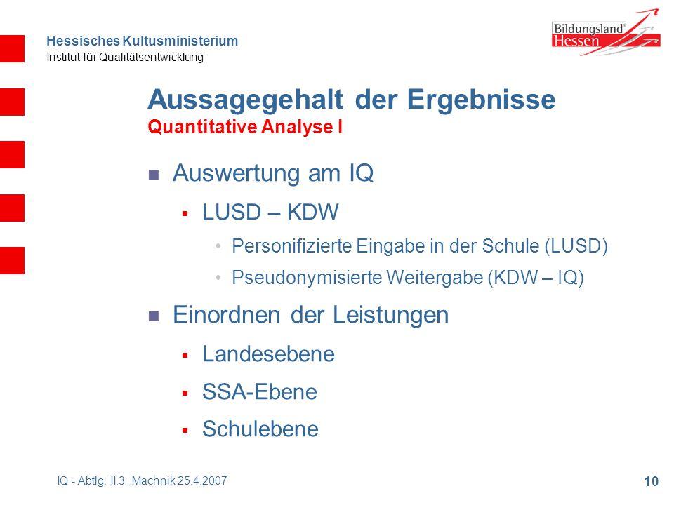 Hessisches Kultusministerium Institut für Qualitätsentwicklung 10 IQ - Abtlg.