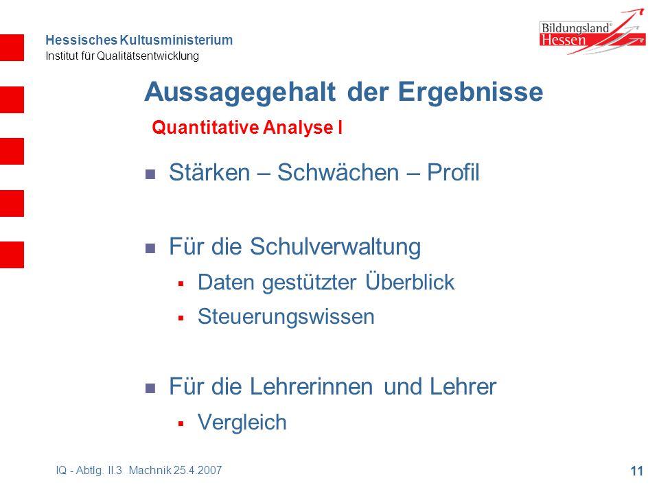 Hessisches Kultusministerium Institut für Qualitätsentwicklung 11 IQ - Abtlg.