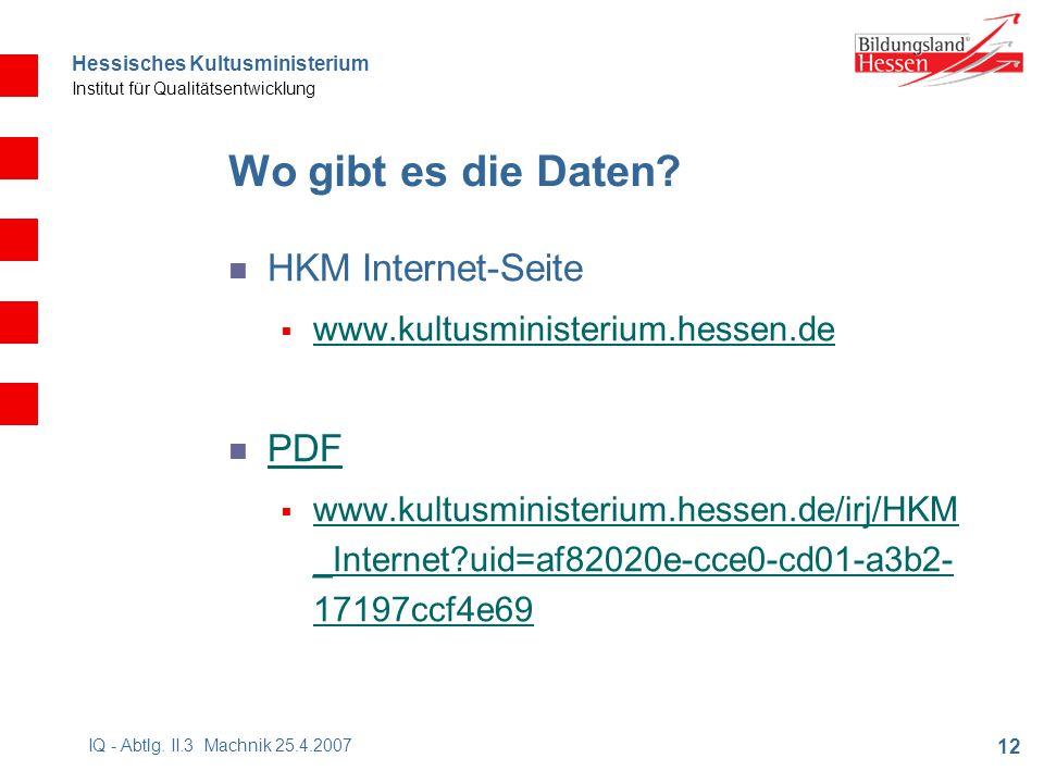 Hessisches Kultusministerium Institut für Qualitätsentwicklung 12 IQ - Abtlg.