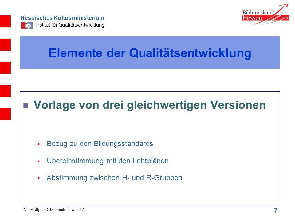 Hessisches Kultusministerium Institut für Qualitätsentwicklung 7 IQ - Abtlg.