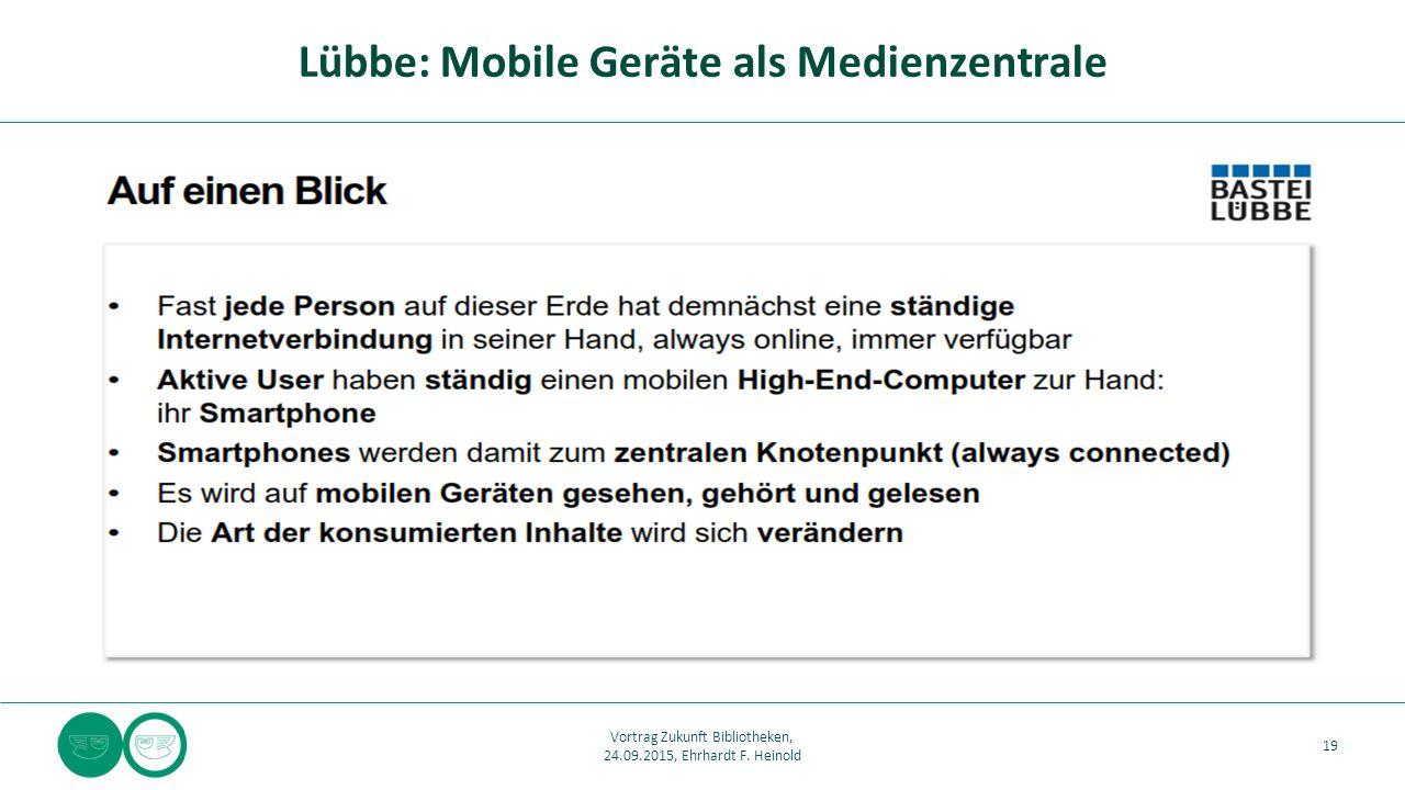 Lübbe: Mobile Geräte als Medienzentrale 19 Vortrag Zukunft Bibliotheken, 24.09.2015, Ehrhardt F. Heinold