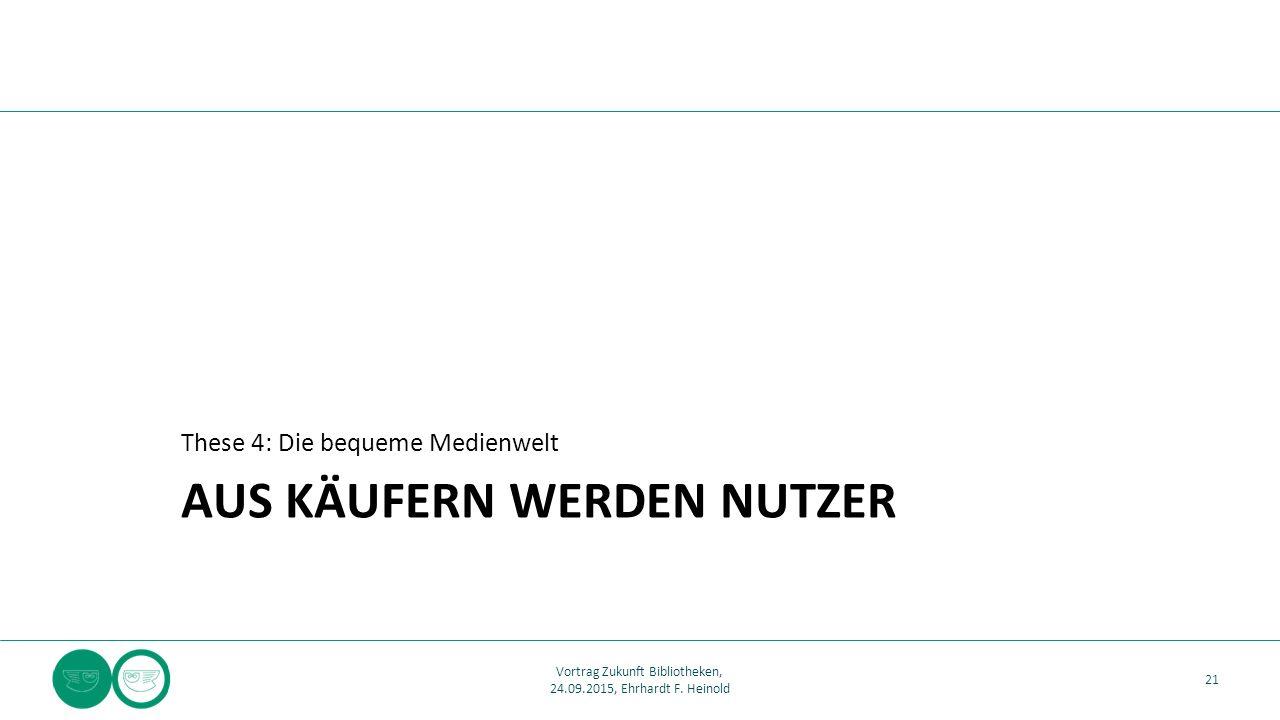AUS KÄUFERN WERDEN NUTZER These 4: Die bequeme Medienwelt 21 Vortrag Zukunft Bibliotheken, 24.09.2015, Ehrhardt F. Heinold