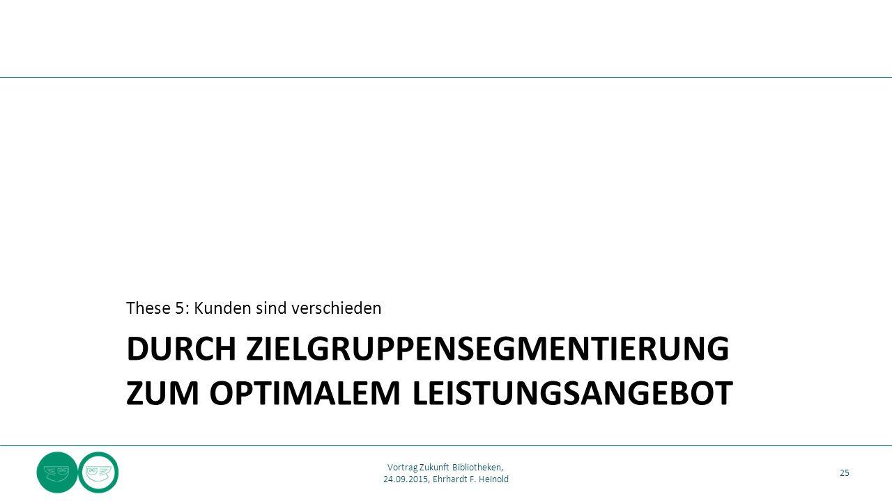 DURCH ZIELGRUPPENSEGMENTIERUNG ZUM OPTIMALEM LEISTUNGSANGEBOT These 5: Kunden sind verschieden 25 Vortrag Zukunft Bibliotheken, 24.09.2015, Ehrhardt F.