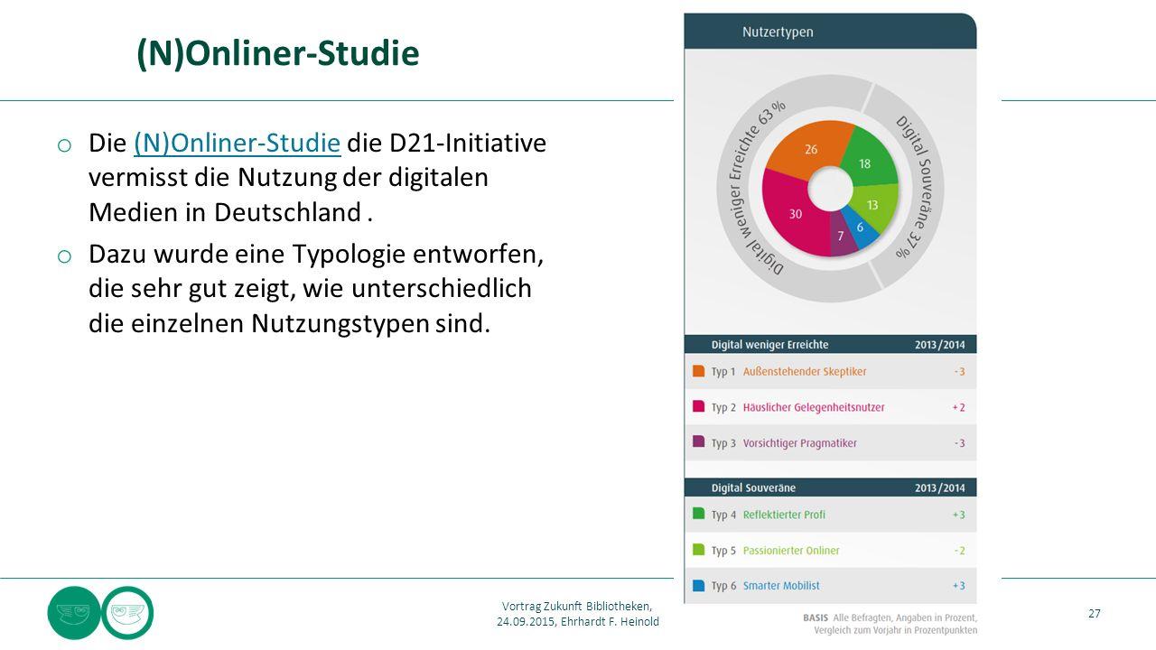 (N)Onliner-Studie o Die (N)Onliner-Studie die D21-Initiative vermisst die Nutzung der digitalen Medien in Deutschland.(N)Onliner-Studie o Dazu wurde eine Typologie entworfen, die sehr gut zeigt, wie unterschiedlich die einzelnen Nutzungstypen sind.