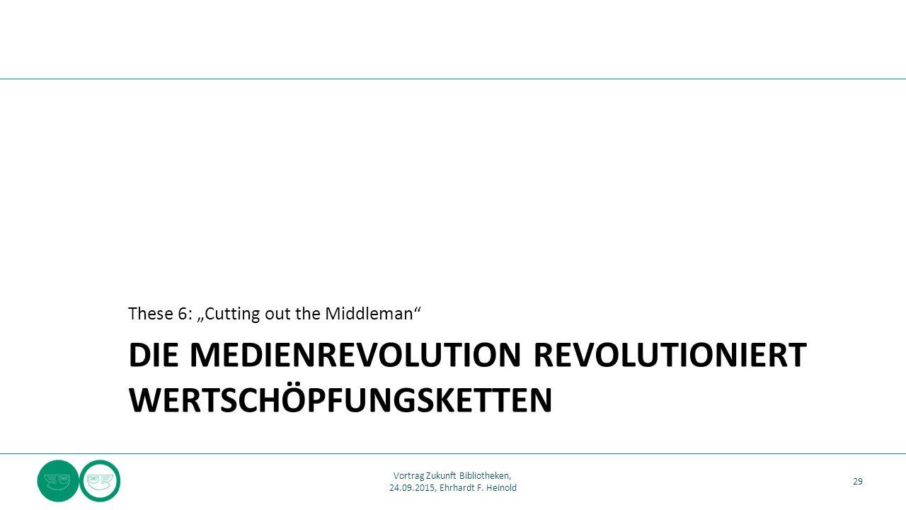 """DIE MEDIENREVOLUTION REVOLUTIONIERT WERTSCHÖPFUNGSKETTEN These 6: """"Cutting out the Middleman 29 Vortrag Zukunft Bibliotheken, 24.09.2015, Ehrhardt F."""