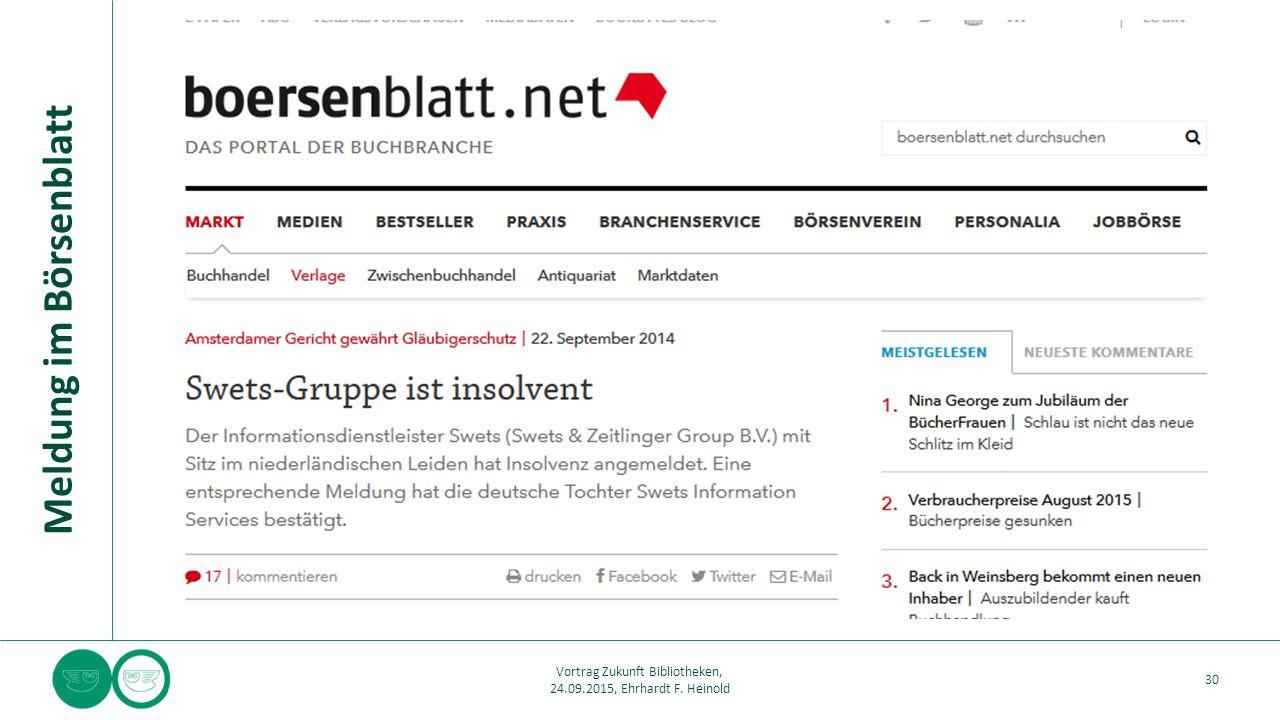 Meldung im Börsenblatt 30 Vortrag Zukunft Bibliotheken, 24.09.2015, Ehrhardt F. Heinold