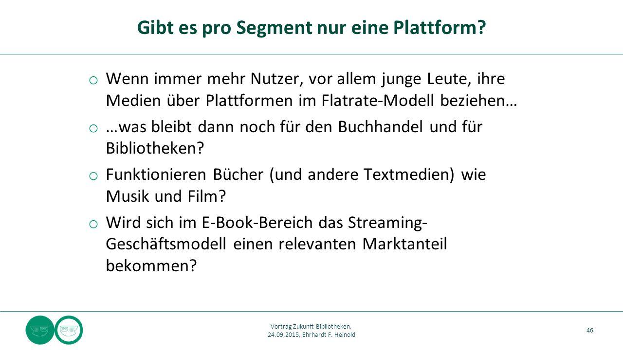 o Wenn immer mehr Nutzer, vor allem junge Leute, ihre Medien über Plattformen im Flatrate-Modell beziehen… o …was bleibt dann noch für den Buchhandel und für Bibliotheken.