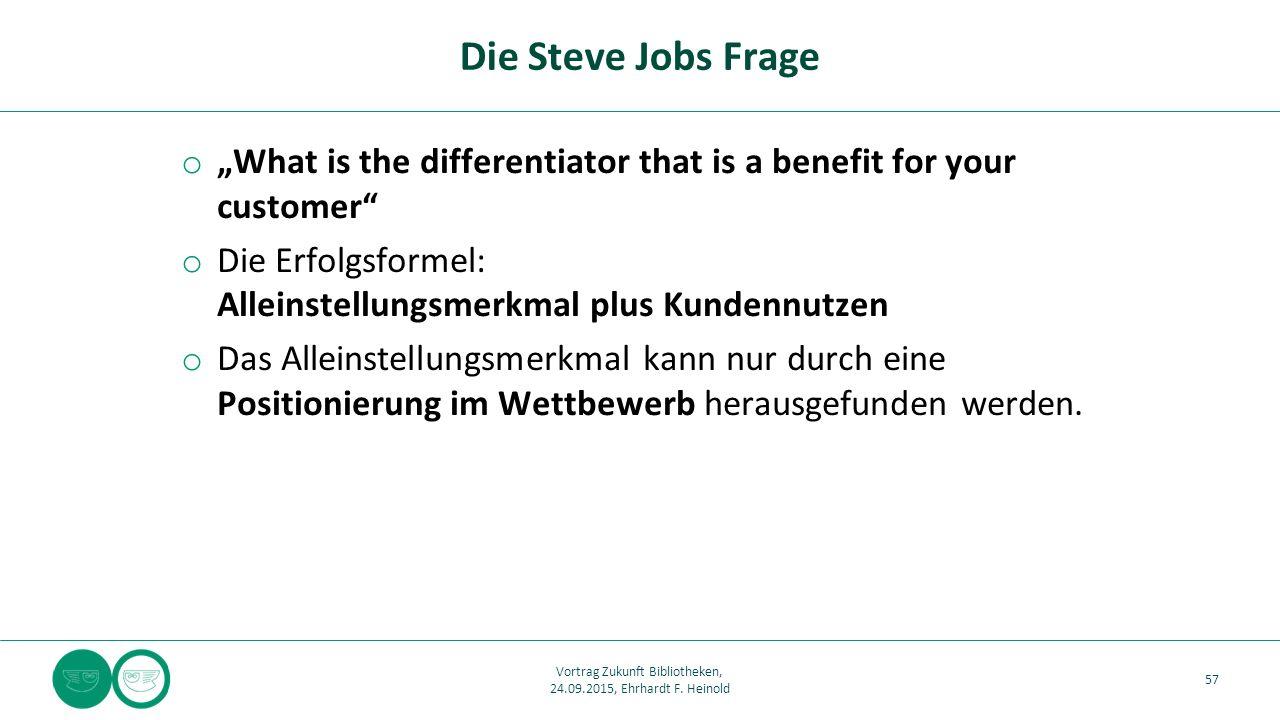 """o """"What is the differentiator that is a benefit for your customer"""" o Die Erfolgsformel: Alleinstellungsmerkmal plus Kundennutzen o Das Alleinstellungs"""