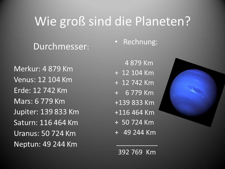 Wie groß sind die Planeten? Durchmesser : Merkur: 4 879 Km Venus: 12 104 Km Erde: 12 742 Km Mars: 6 779 Km Jupiter: 139 833 Km Saturn: 116 464 Km Uran