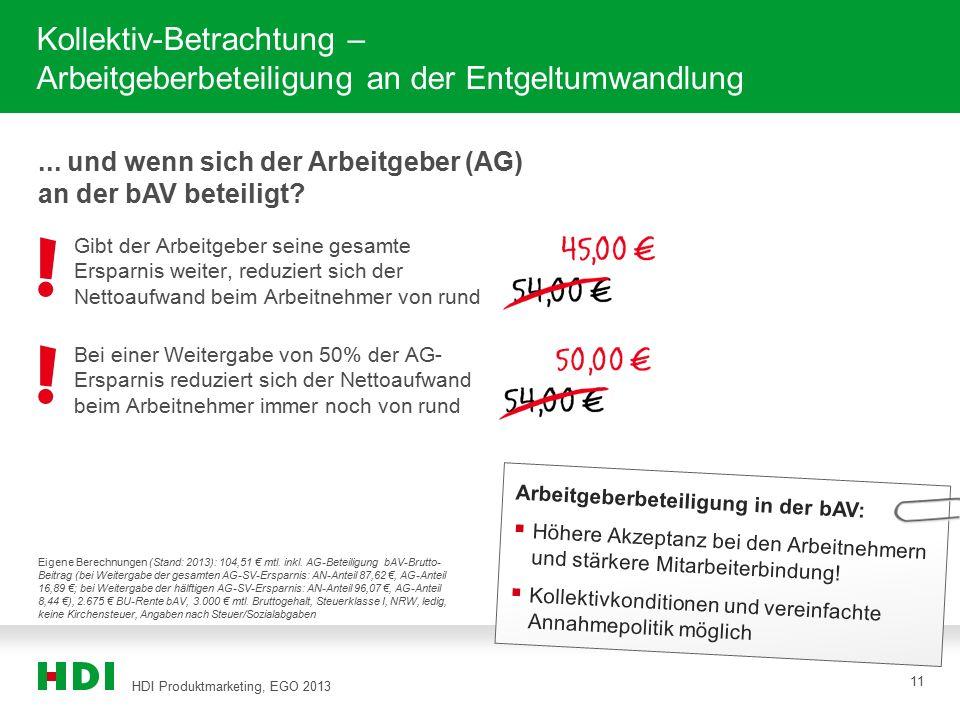 HDI Produktmarketing, EGO 2013 11 Kollektiv-Betrachtung – Arbeitgeberbeteiligung an der Entgeltumwandlung Arbeitgeberbeteiligung in der bAV:  Höhere