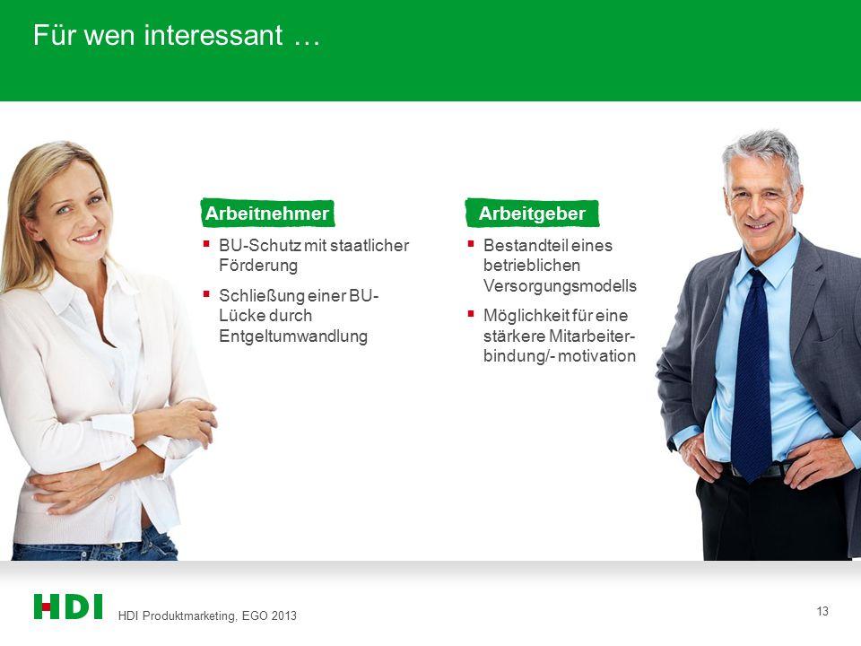 HDI Produktmarketing, EGO 2013 13 Für wen interessant … Arbeitnehmer  BU-Schutz mit staatlicher Förderung  Schließung einer BU- Lücke durch Entgeltu