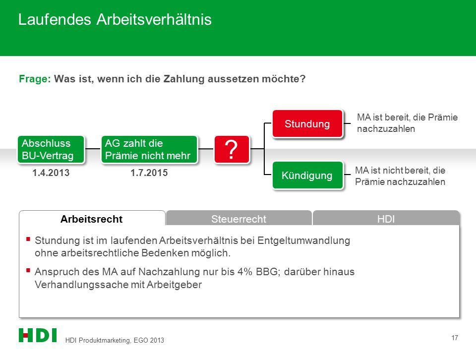 HDI Produktmarketing, EGO 2013 17 Arbeitsrecht Steuerrecht HDI Laufendes Arbeitsverhältnis Frage: Was ist, wenn ich die Zahlung aussetzen möchte?  St