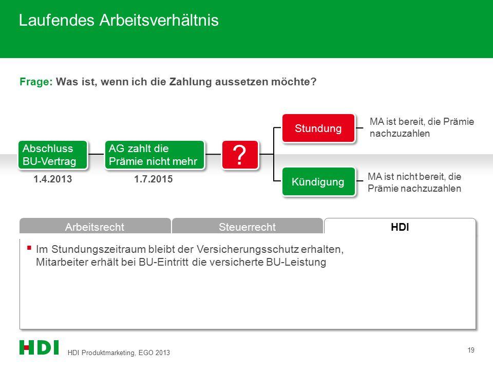 HDI Produktmarketing, EGO 2013 19 HDI ArbeitsrechtSteuerrecht Frage: Was ist, wenn ich die Zahlung aussetzen möchte?  Im Stundungszeitraum bleibt der
