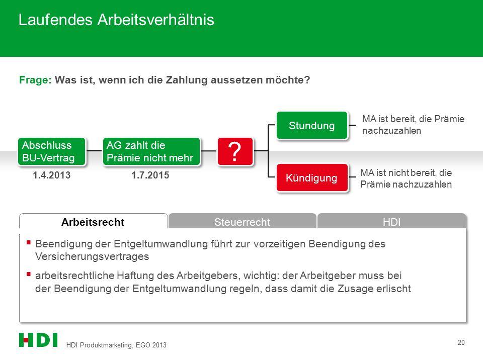 HDI Produktmarketing, EGO 2013 20 Arbeitsrecht Steuerrecht HDI Frage: Was ist, wenn ich die Zahlung aussetzen möchte?  Beendigung der Entgeltumwandlu