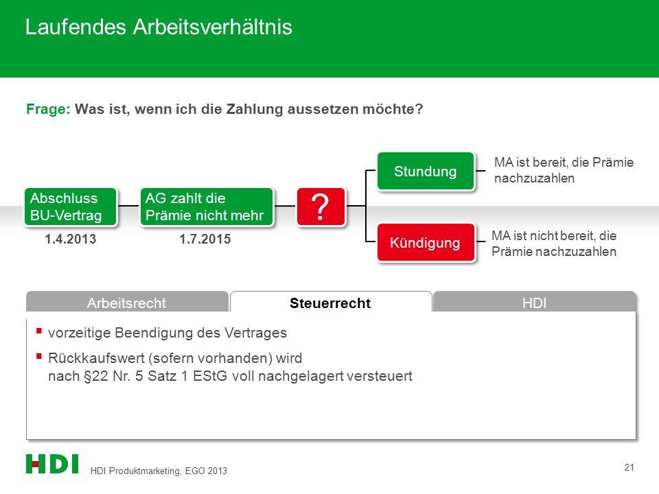 HDI Produktmarketing, EGO 2013 21 Steuerrecht Arbeitsrecht HDI Frage: Was ist, wenn ich die Zahlung aussetzen möchte?  vorzeitige Beendigung des Vert