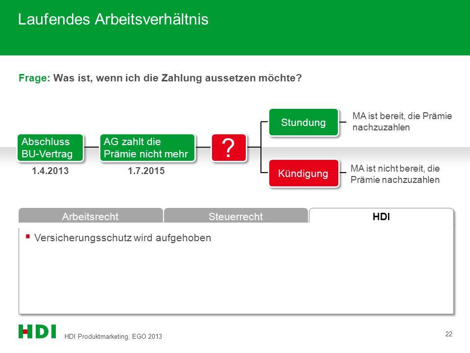 HDI Produktmarketing, EGO 2013 22 HDI ArbeitsrechtSteuerrecht Frage: Was ist, wenn ich die Zahlung aussetzen möchte?  Versicherungsschutz wird aufgeh