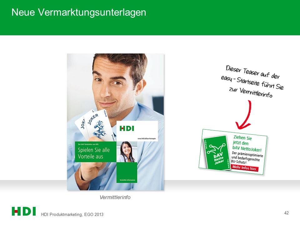HDI Produktmarketing, EGO 2013 42 Neue Vermarktungsunterlagen Vermittlerinfo